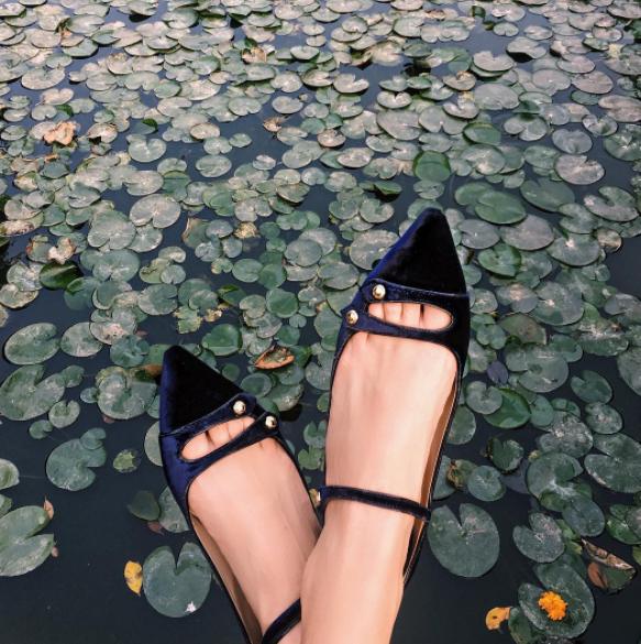 Jimmy Choo Layton velvet point-toe flats (as seen on Amlul @galagonzalez) $510