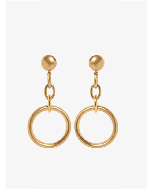 Marni Circle gold coloured brass clip earrings