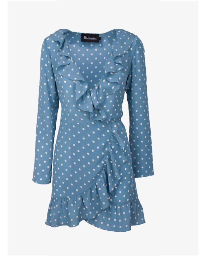 Realisation Par The Alexandra Dusty Blue Spot Dress $195