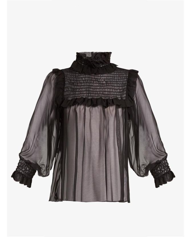 Gucci Ruffled-neck chiffon blouse $1,276