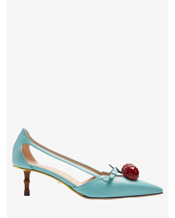 Gucci Unia cherry-embellished leather pumps $1,165
