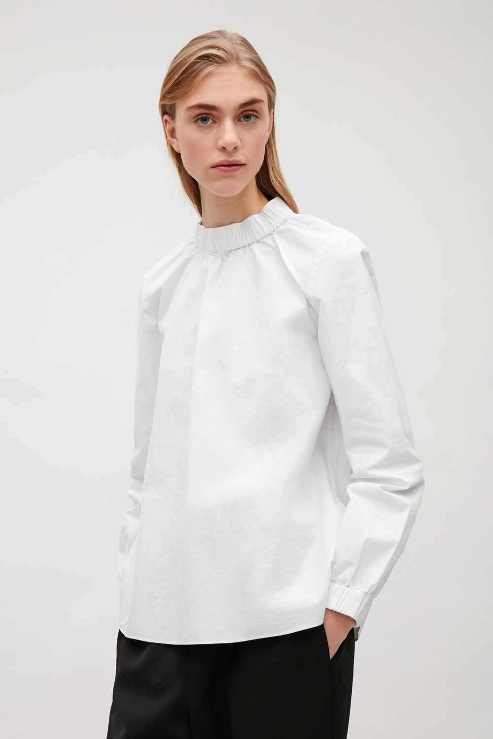 COS White top with elastic details $94