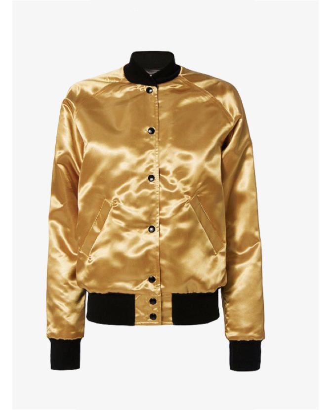 Catherine Fulmer Bowie Gold Bomber Jacket $581