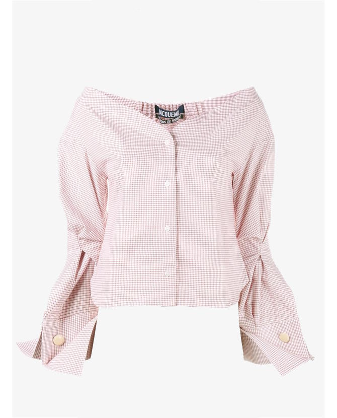 Jacquemus checked off-shoulder blouse $473