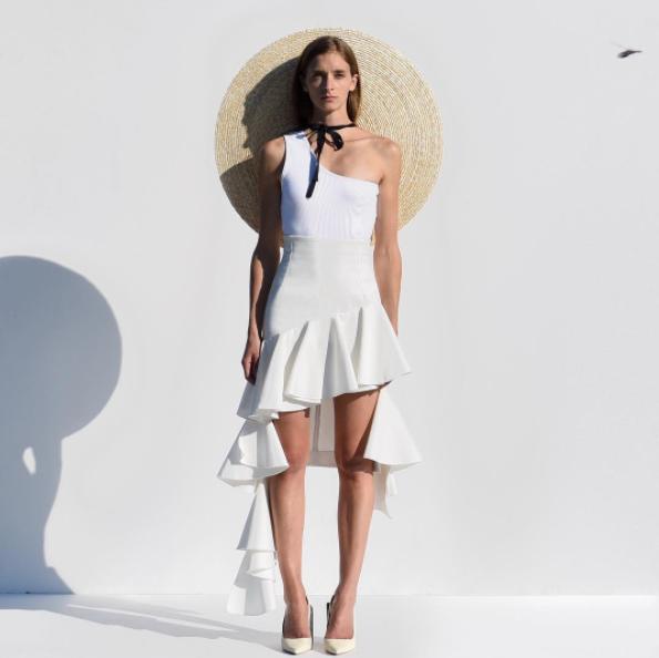 Jacquemus La Jupe Camargue (white ruffle cotton skirt) $664