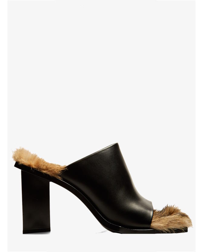 Marques'almeida Fur-lined leather mules $625