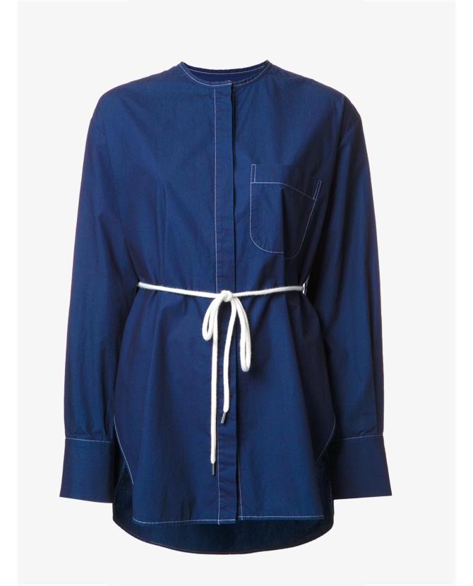 Bassike Blue drawstring shirt $380
