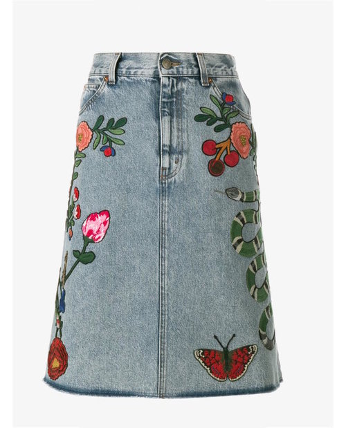 Gucci Embroidered denim skirt $1,425