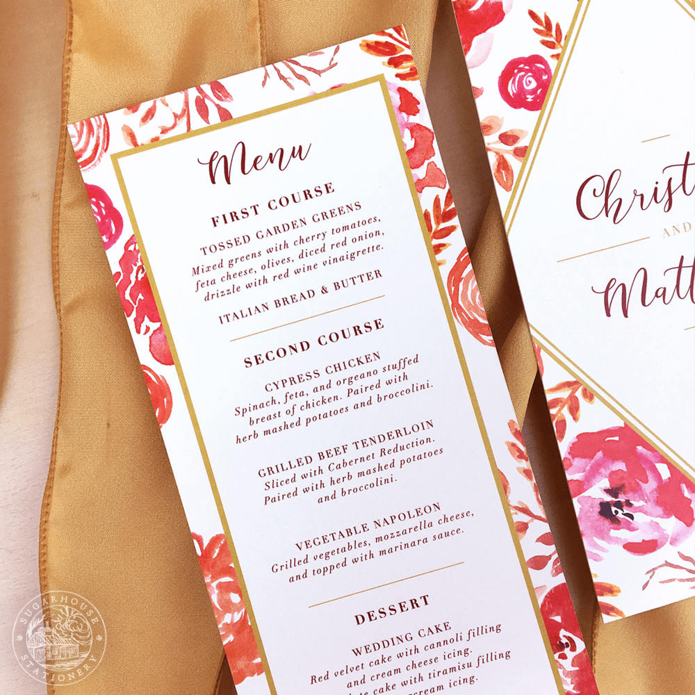 Charleston Menu Cards