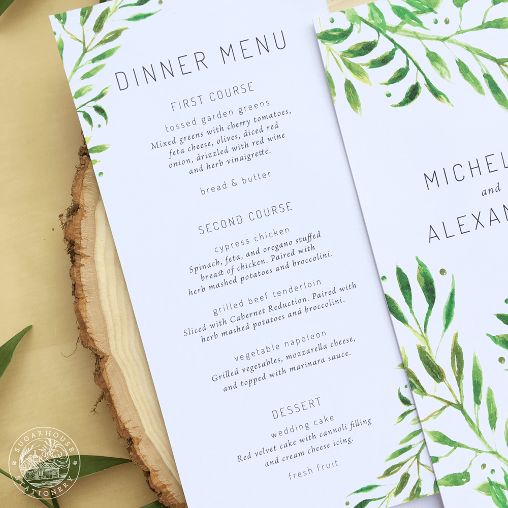 Waitsfield Menu Cards