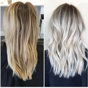 Before and After of bleached, then toned hair!