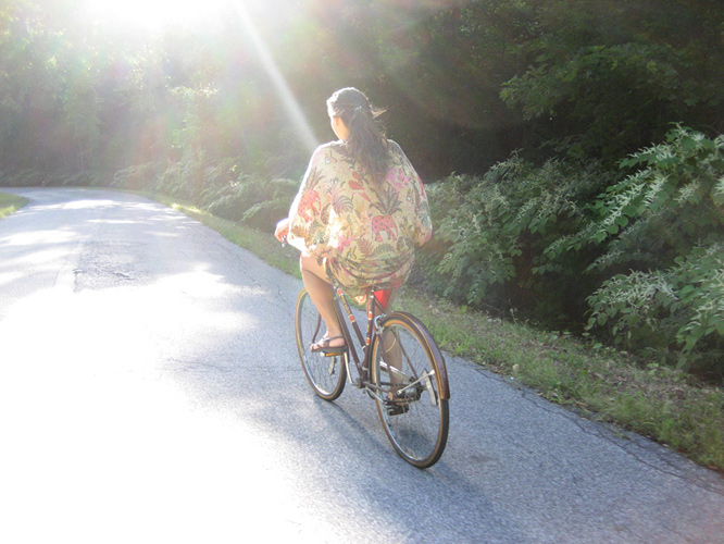 Viva on my bicycle, upstate New York.