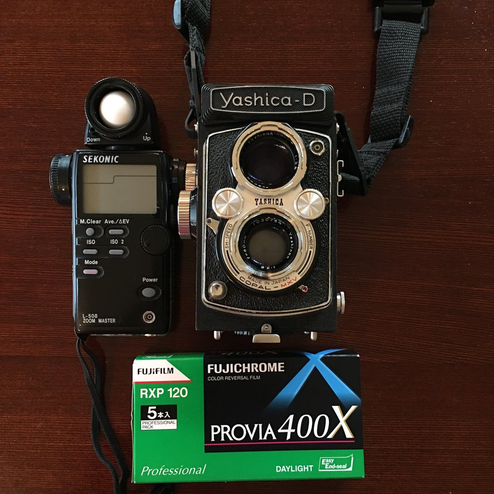 Yashica-D 6x6 Twin Lens Medium Format Camera with 400 speed slide film.