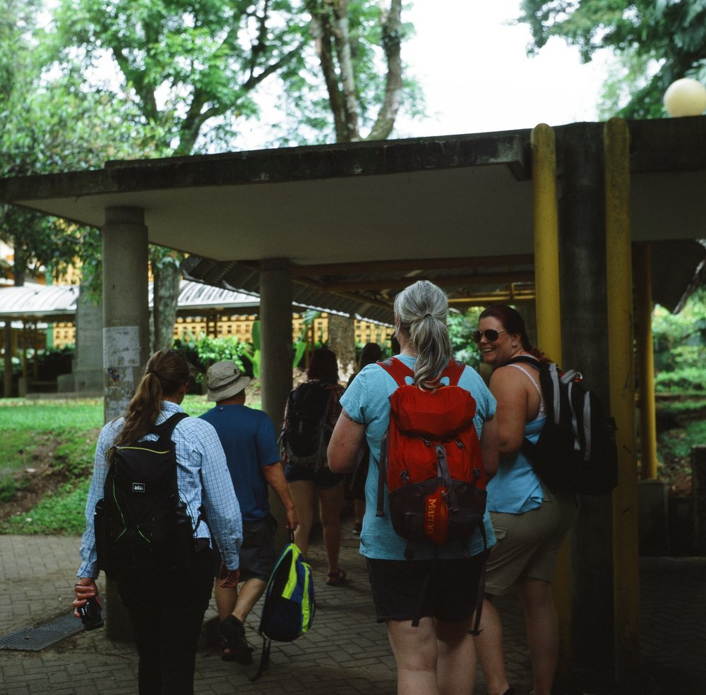 Provia 400x. My class walking through the Monteverde main campus in San Jose, Costa Rica.