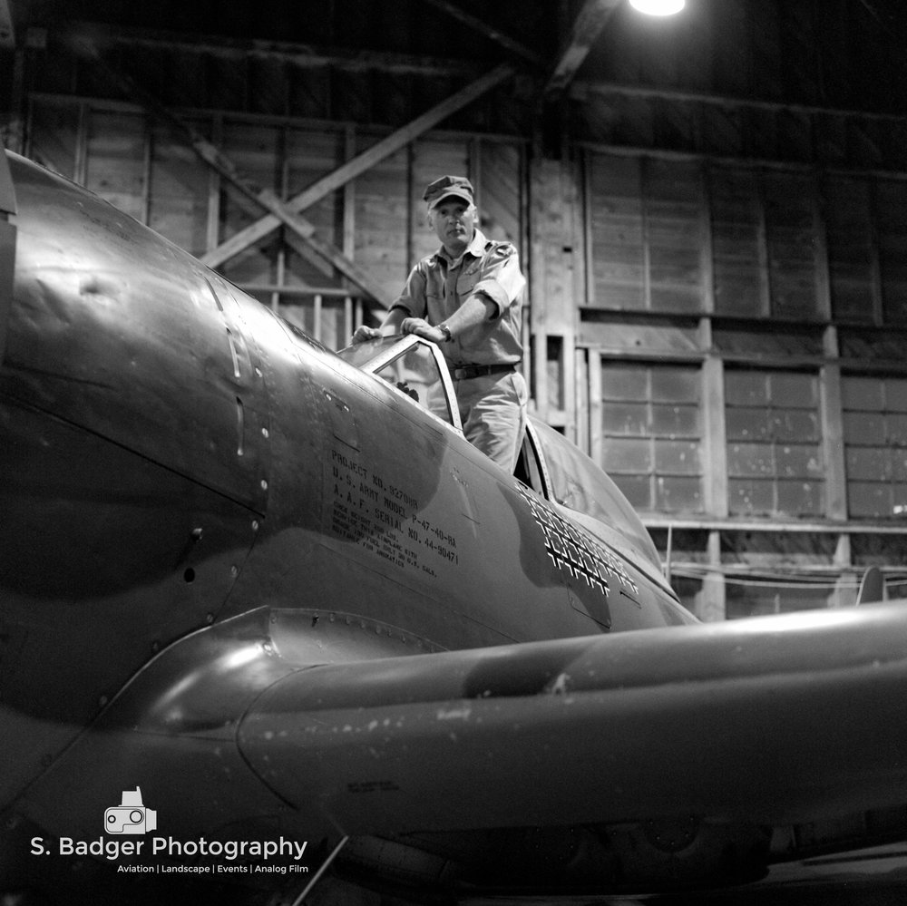 P47 in an original WWII era hanger.   Ilford HP5 Plus 400 speed film