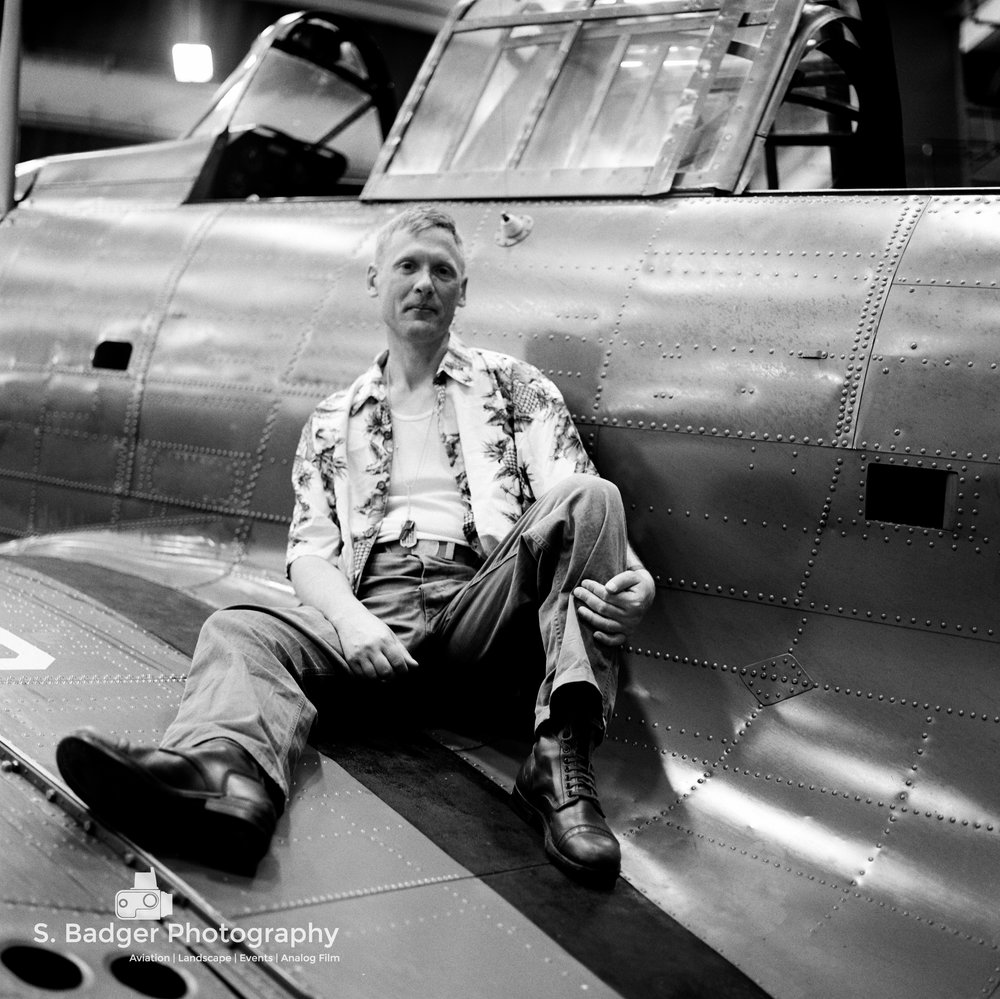 Dauntless in air museum hanger.  Kodak Tri-X 400 speed film