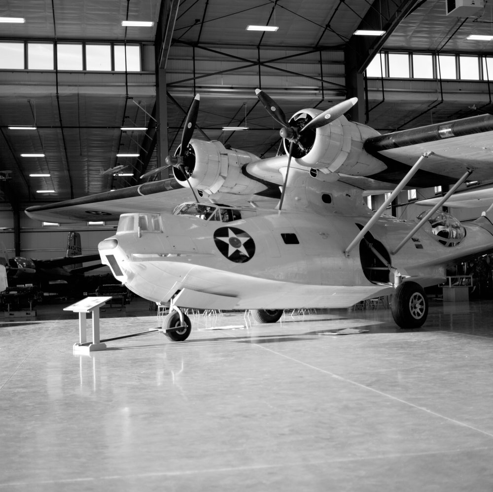 PBY Catalina flying boat inside the hanger on Friday.  Fuji Neopan 100 Acros