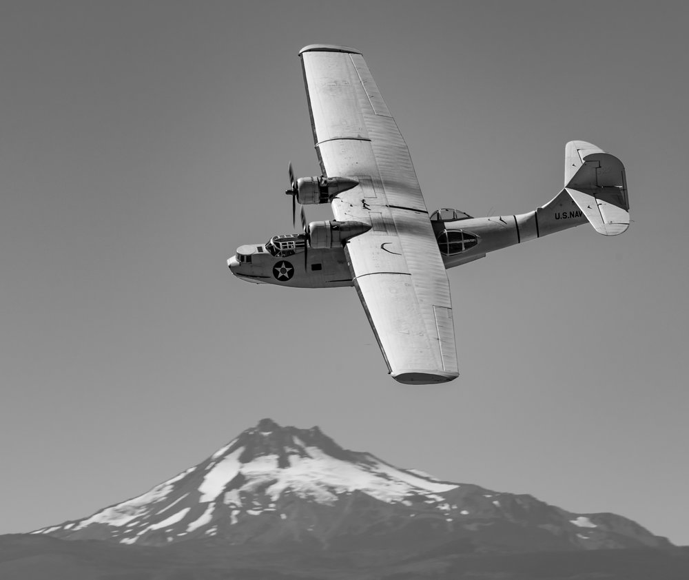 PBY performing on Saturday afternoon.   Digital shot converted to black and white in Lightroom. My Hasselblad doesn't have enough focal length for this kind of work. (Digital SLRs are better suited for action shots anyway).
