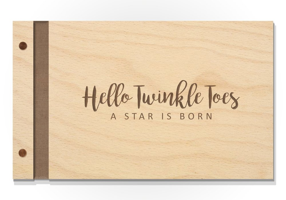 EZPZ Baby Books Original Cover - Baltic Birch with raw engraving Hello Twinkle Toes