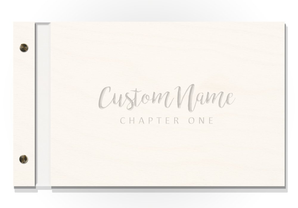 FEATURE: EZPZ Baby Books Original Cover - Baltic Birch with raw engraving - Custom Name