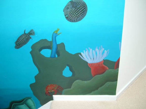 Beach house underwater scene