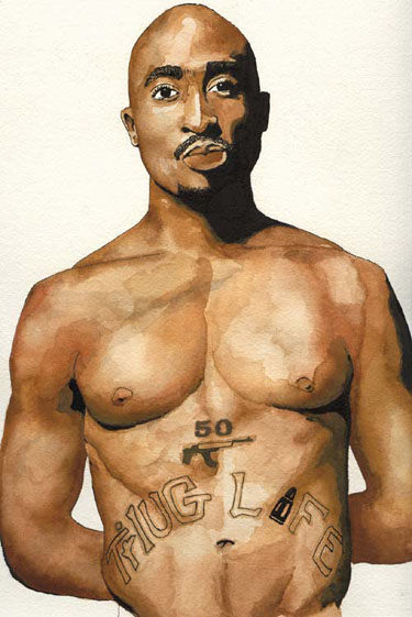 2Pac | Watercolor and Ink