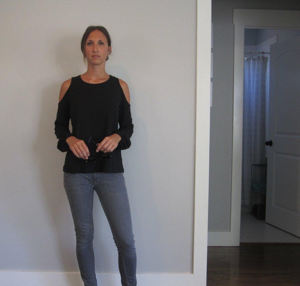 Top:  Rebecca Minkoff Page Cutout top , Nordstrom // Jeans:  Hudson Collin skinny  // Sunglasses:  Karen Walker Super Duper Strength