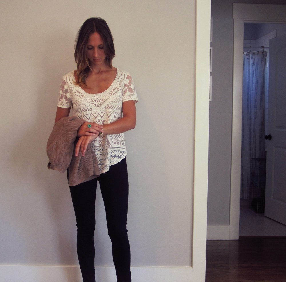 Lace top: Meadow Rue at Anthropologie, similar  here //Jeans:  Citizens of Humanity Avedon skinny  // Sweater: Madewell, similar  here and  here  // Watch:  Michael Kors