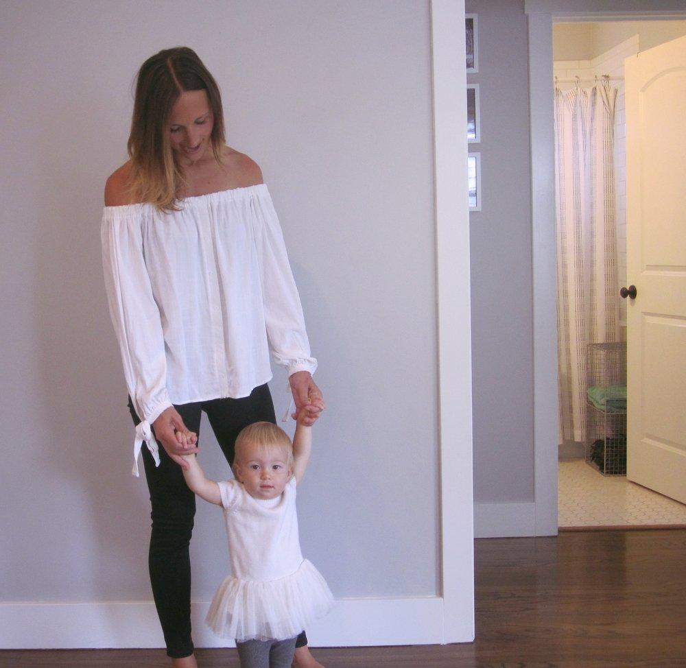 Top:  BP  // Jeans:  Hudson Krista Crop  // Bracelets:  Madewell // Lola's dress:  Gap