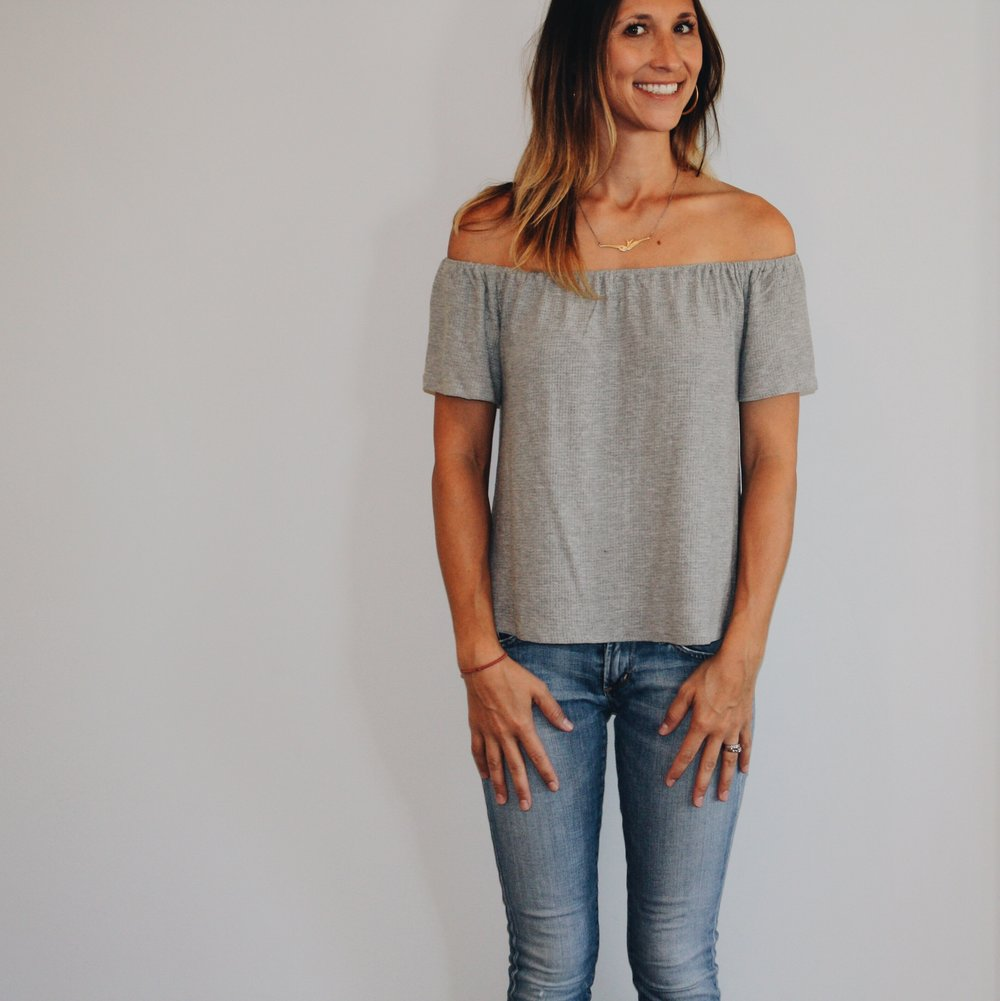 Chloe + Katie Off-the-shoulder top,  here  // Citizens of Humanity Racer Jeans, here , and on sale  here