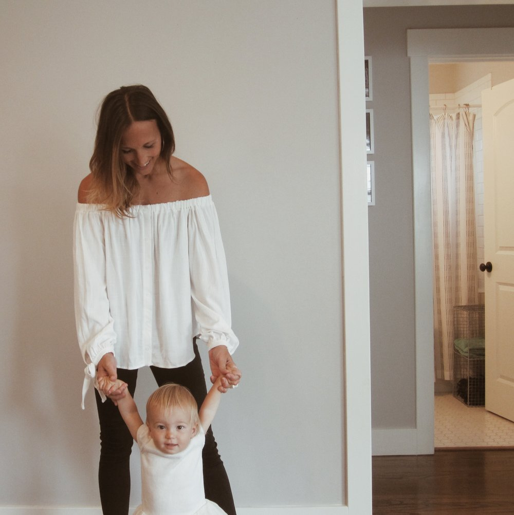 BP Off-the-shoulder blouse, on sale  here // Hudson Krista Ankle Jeans, on sale  here