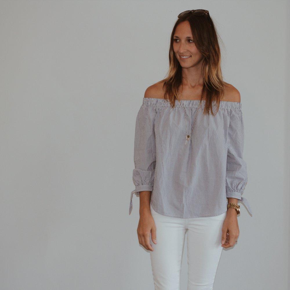 A & F Poplin Off-the-shoulder blouse, on sale  here , similar on sale  here  // Paige jeans, on sale  here