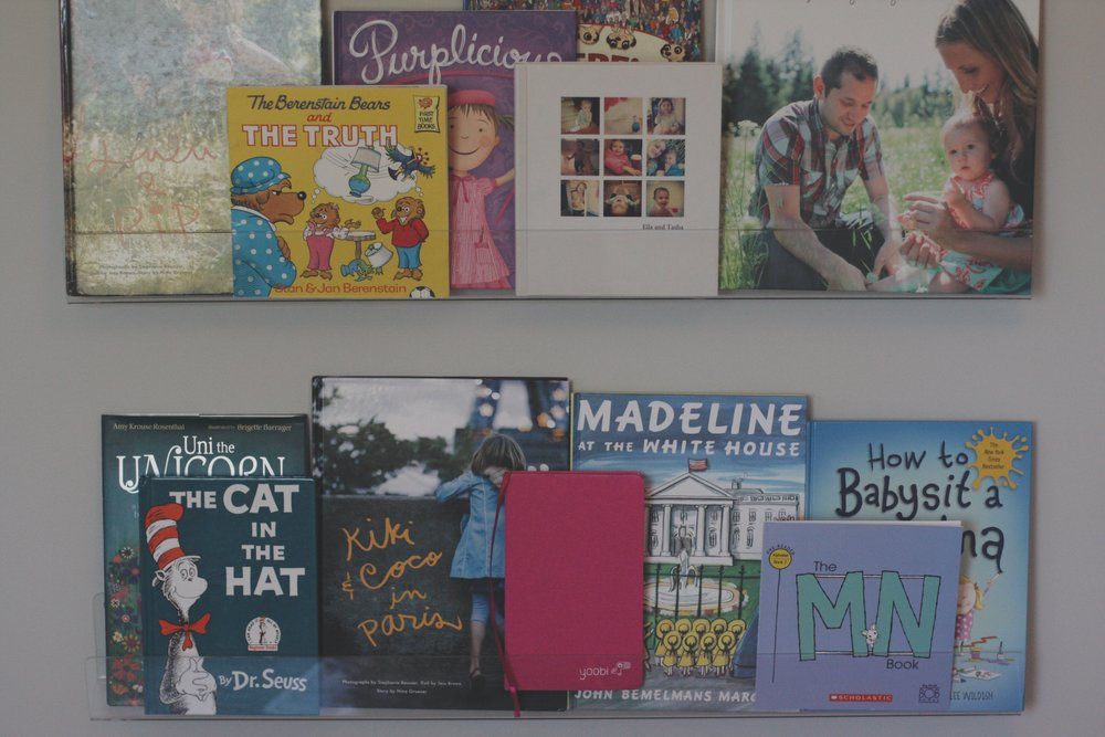 Clear book display shelves - my favorite. Buy them  here . :)