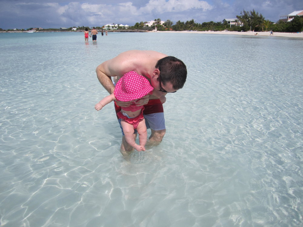 The shallow water is perfect for littles (Sapodilla Bay).