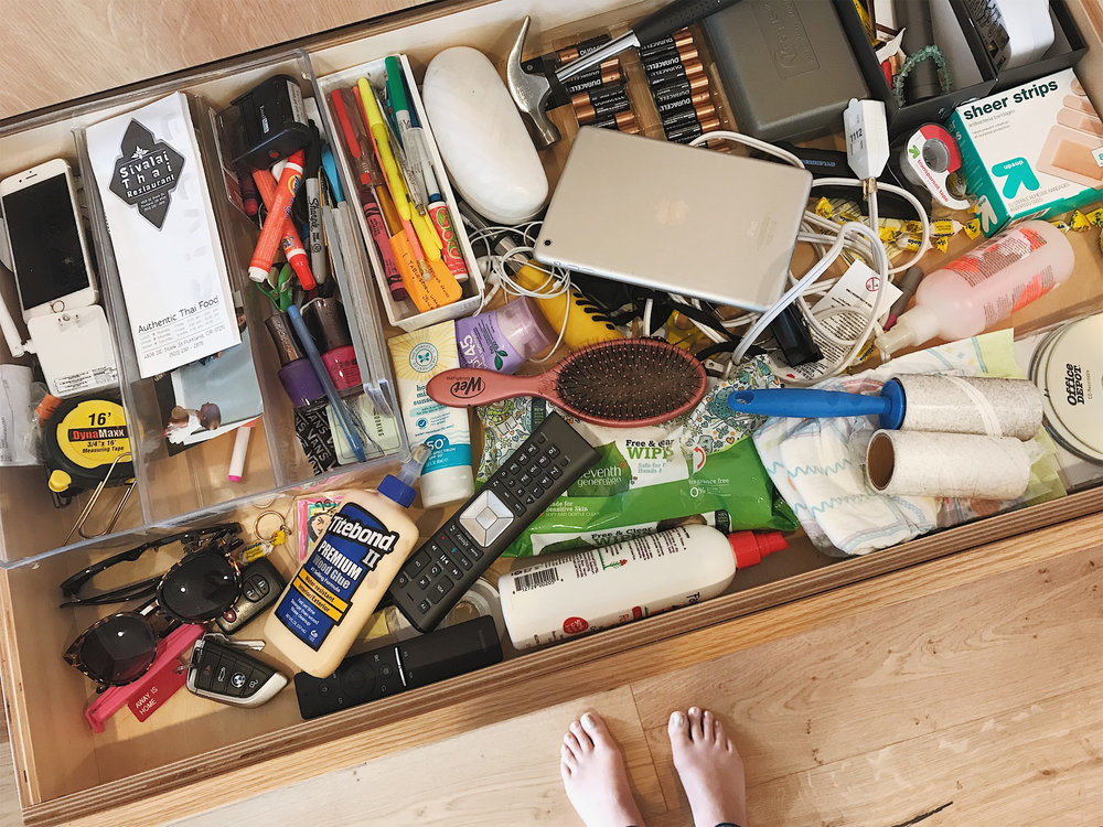 Our kitchen junk drawer before I purged and re-organized...