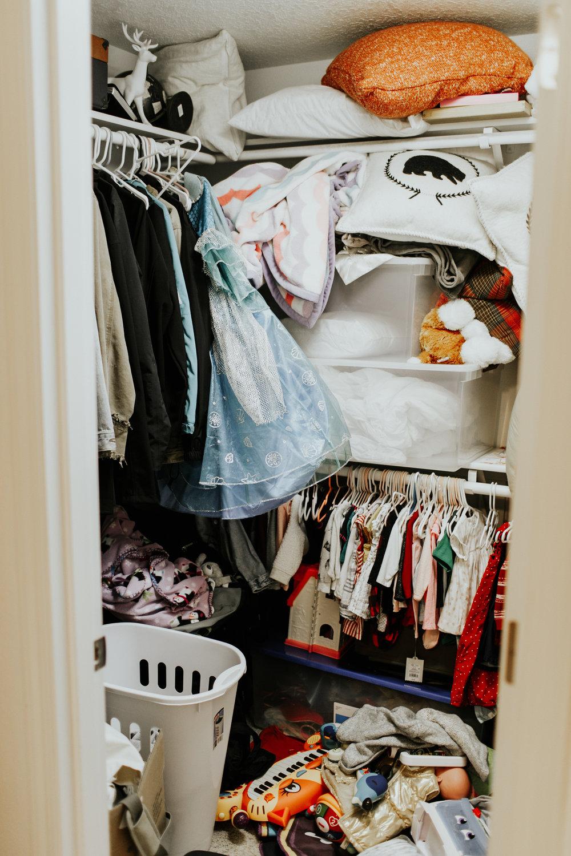 Little Emma's closet before I got into it...