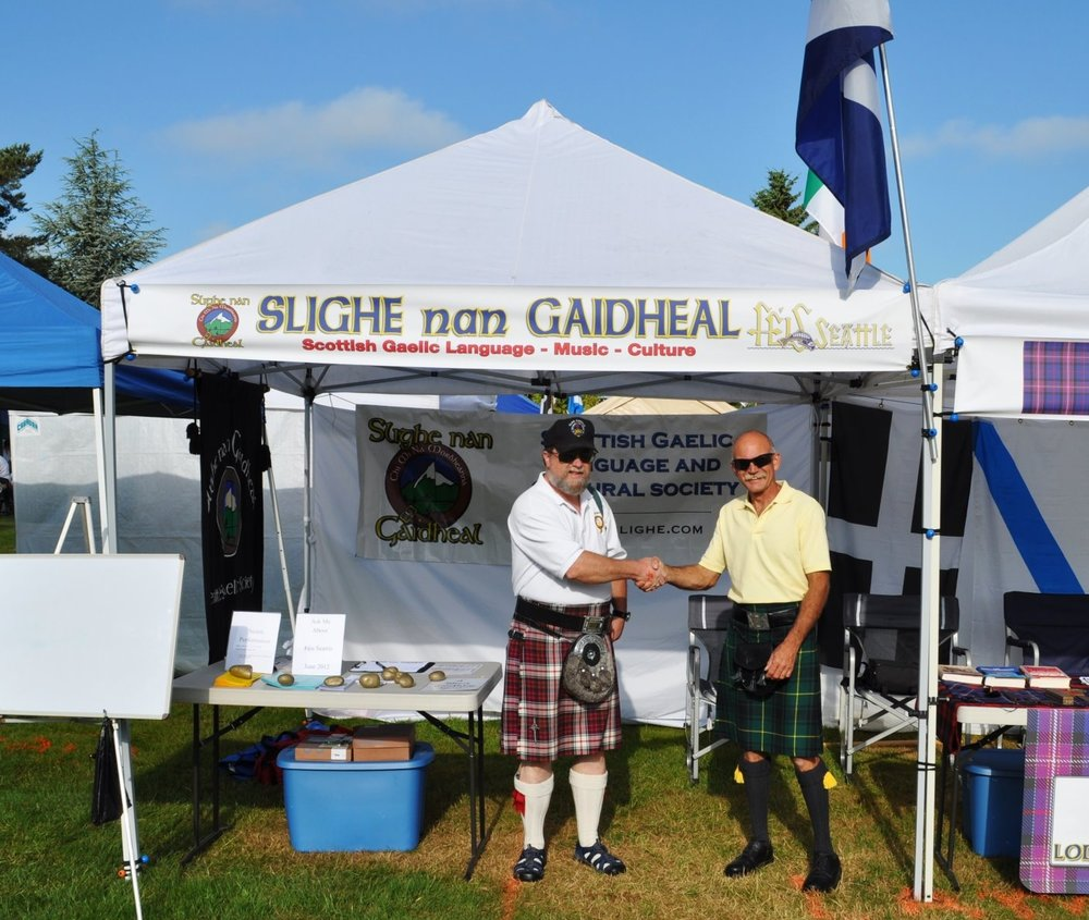 Slighe nan Gaidheal Tent - Stop by the Slighe nan Gaidheal tent and learn a little about who we are. You might learn a phrase or two of Scottish Gaelic; pick up some information about our languages classes and music programs; and meet some current members of the organization! Our tent is located in the south quadrant of the Clans tents (across from the south stage).