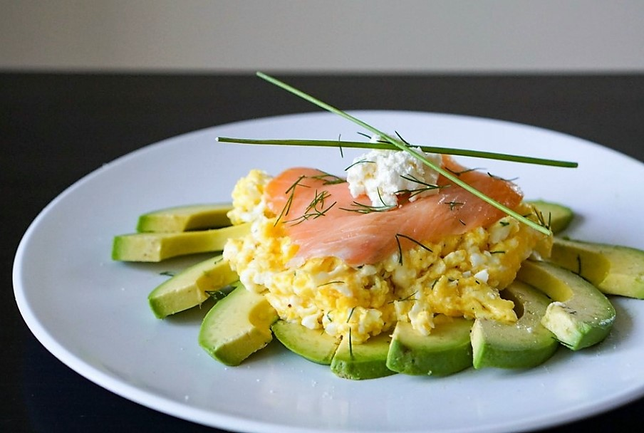 Breakfast scrambled eggs, salmon