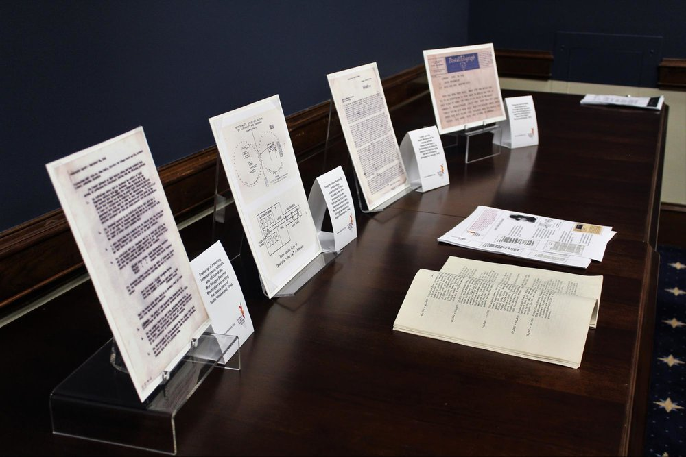 "Artifacts from Amud Aish's collection, including an original copy of the ""Auschwitz Protocols"""