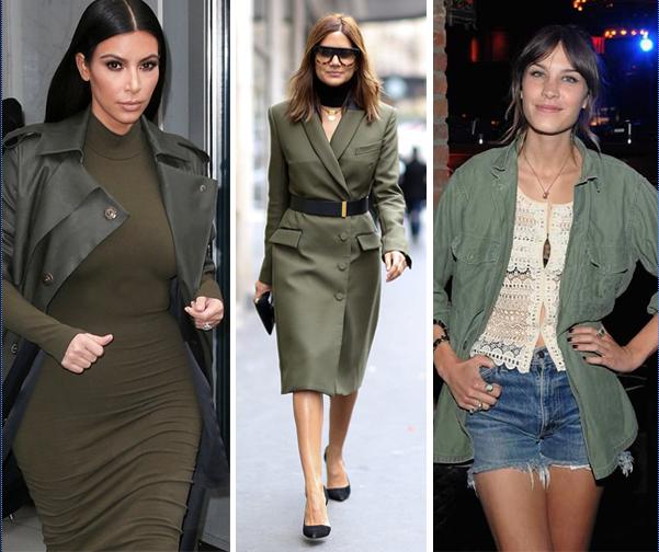 Kim Kardashian, Christine Centenera + Alexa Chung are all khaki fans.