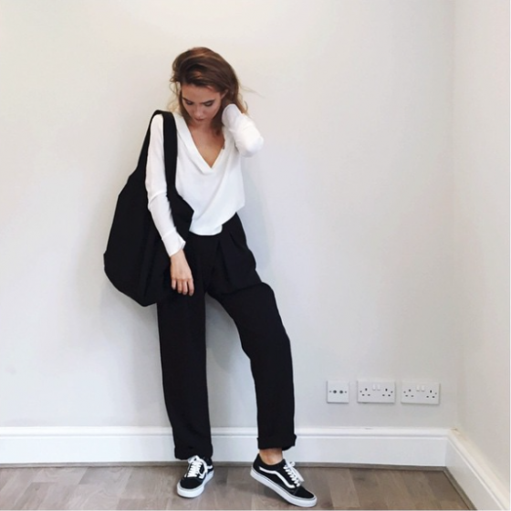 Alicia Roddy wears C/MEO COLLECTIVE Harmony Shirt + The Fifth Label Just For Now Pants