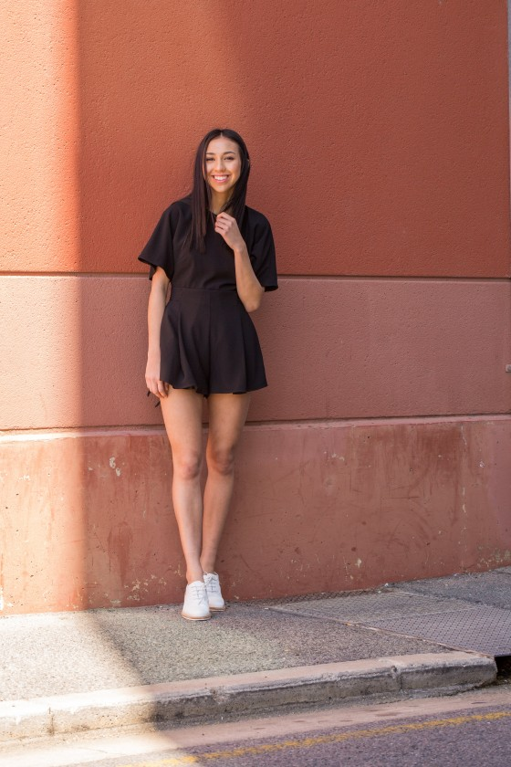 Rachelle wears The Fifth Label Modern Love Playsuit.