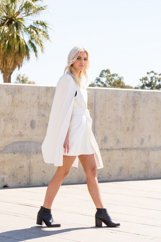 Dani wears C/MEO COLLECTIVE Night Rider Dress.