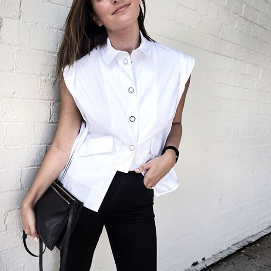 @britneyking wears C/MEO COLLECTIVE  Midnight Shirt