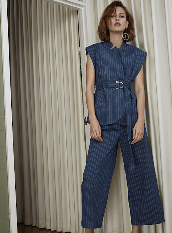 Shop C/MEO COLLECTIVE Stay Cool Pinstripe Top + Pants.