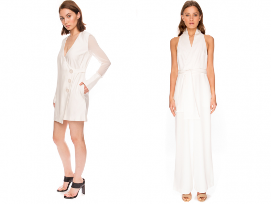 Shop C/MEO COLLECTIVE First Light Dress + Keepsake The Label White Shadows Jumpsuit.