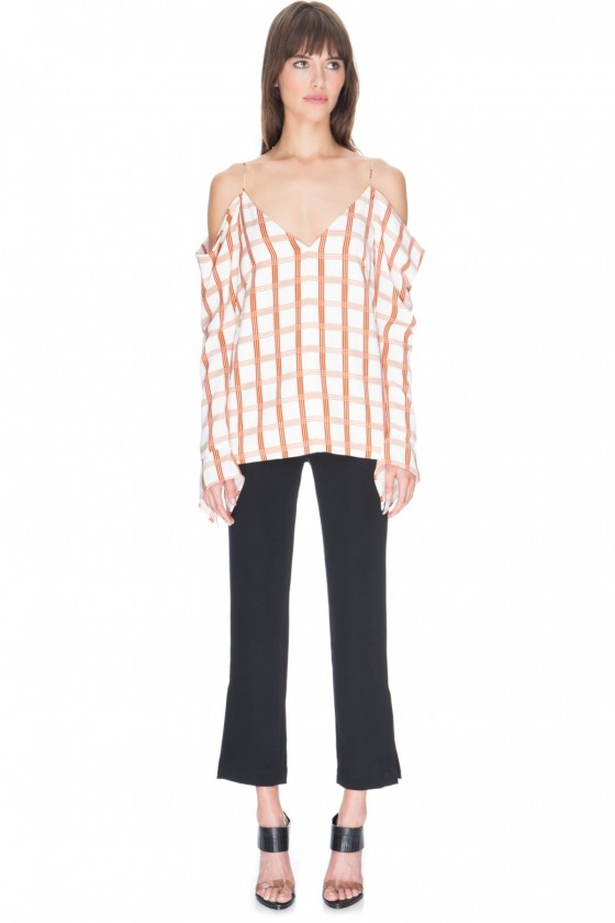 Shop C/MEO COLLECTIVE Cold Shoulder Check Top + Not This Time Pant.