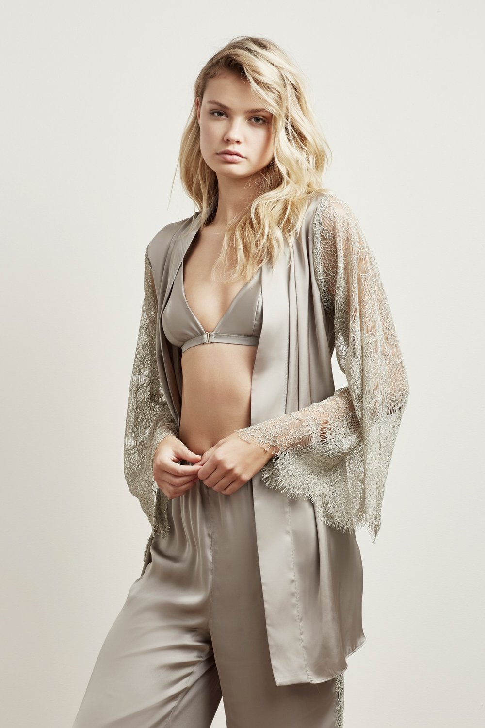 Shop  White Lies Robe ,  Bralette  +  Pants .