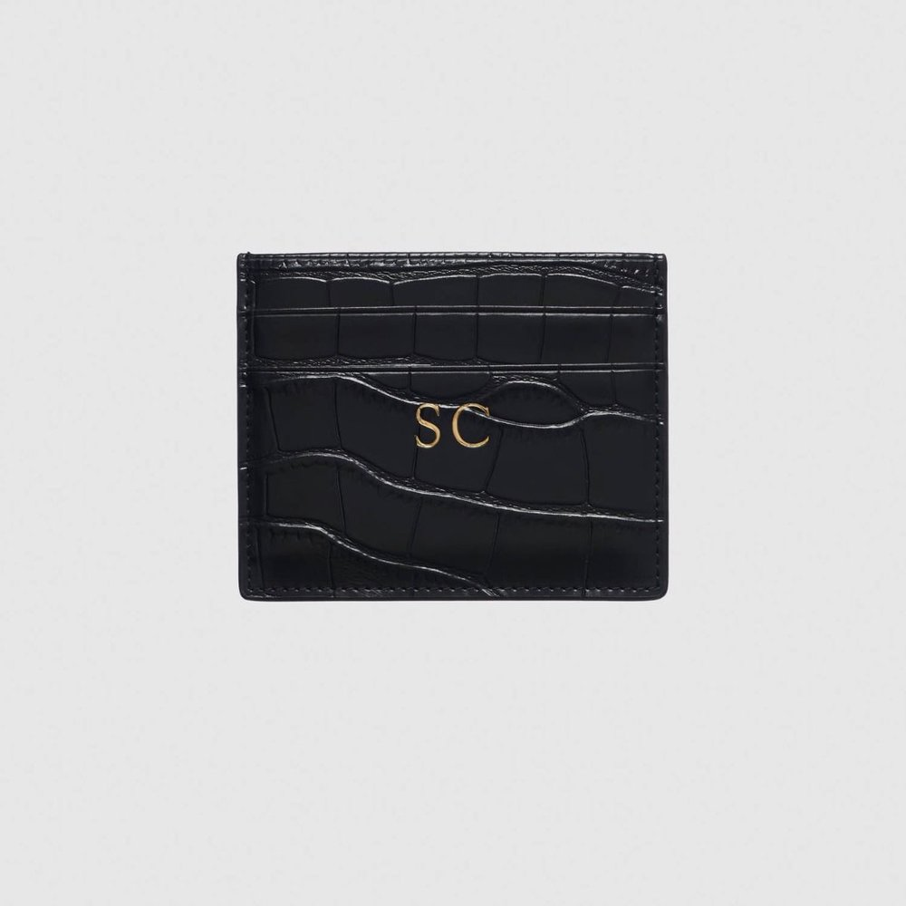 The Daily Edited Black Mock Crock Cardholder