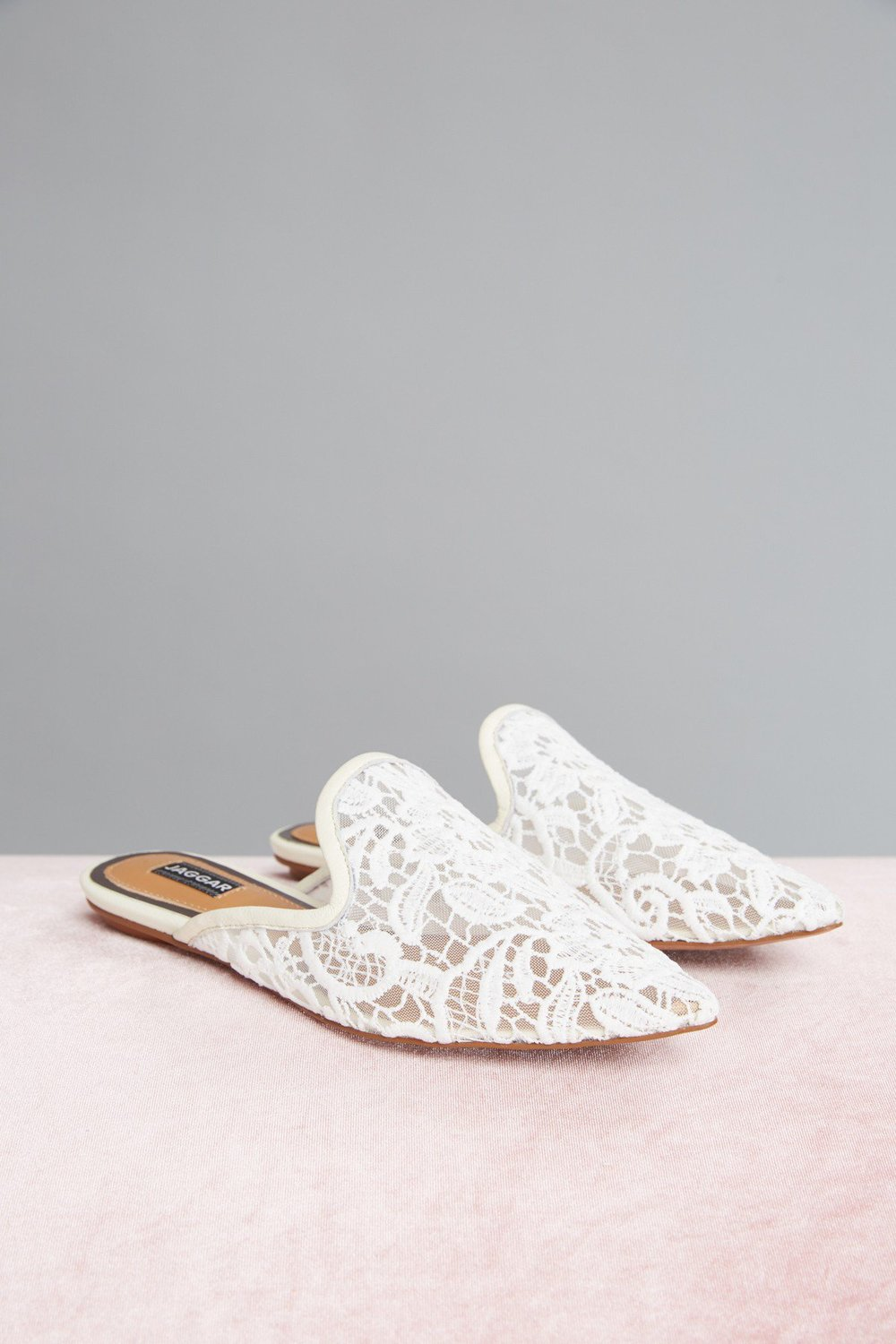 Shop JAGGAR Aside Lace Flat in chalk.